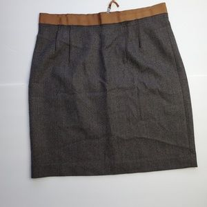 LOFT Ann Taylor mini skirt brush charcoal with tan